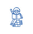 sitting boy reads book line icon concept sitting vector image vector image