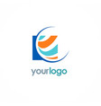 square globe color business logo vector image