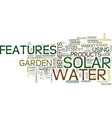 The benefits of solar water features text