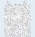 unicorn and fantastic vintage flowers vector image vector image