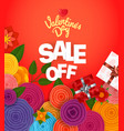 valentines day sale off banner vector image