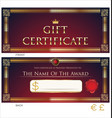 voucher gift certificate coupon red and gold vector image vector image