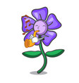 with trumpet periwinkle flower mascot cartoon vector image