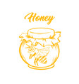 yellow outline sketch honey bee vector image vector image
