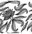 Black white seamless pattern with lotus Boho vector image