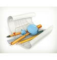 Compass ruler and pencil vector image
