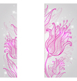 background with pink hand drawn tulips vector image