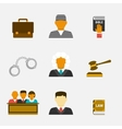 Law and justice flat icons vector image