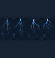 realistic lightnings zig zag on checkered vector image