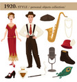 1920 fashion style man and woman personal objects vector image vector image