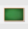 3d realistic blank green chalkboard wooden vector image