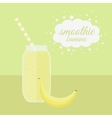 Banana smoothie in jar on a table vector image