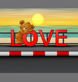 bear on red word love in seaside background vector image vector image