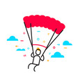 business of man flying on a parachute parachuting vector image