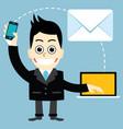 businessman send e-mail vector image vector image