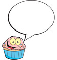 Cartoon cupcake with a caption balloon vector image vector image