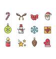 christmas theme icons set vector image vector image
