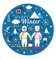 Couple in Snowsuit with Winter Icons Label vector image vector image