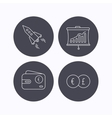 Currency exchange cash money and startup icons vector image vector image