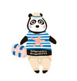 cute dressed panda tourist hand drawn vector image vector image