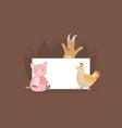 cute farm animals holding empty banner funny goat vector image vector image