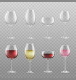 different realistic wine glass types set with and vector image