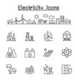 electricity icons set in thin line style vector image