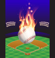 fire baseball field vector image vector image