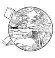 fishing vintage vector image vector image