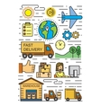 flat logistics and delivery vector image