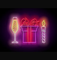 glow gift box with beautiful bow champagne and vector image vector image