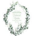 green leaves wreath card watercolor vector image vector image