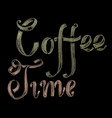 hand drawn chalk lettering coffee time vector image vector image
