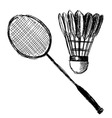 Hand sketch badminton racket and shuttlecock vector image vector image