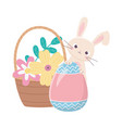 happy easter day rabbit with painted egg flowers vector image vector image