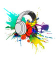 headphones with colorful splashes vector image vector image