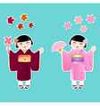 japanese girls vector image vector image