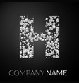 letter h logo silver dots alphabet logotype vector image vector image