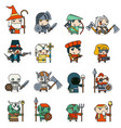 lineart fantasy rpg game heroes villains minions vector image vector image