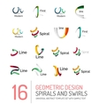 Logo collection ribbon waves swirls spirals vector image