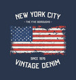 nyc five boroughs t-shirt and apparel design vector image vector image