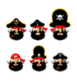 pirate emoji head set filibuster sad and merry vector image