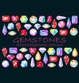 precious stones cut gemstones and brilliants vector image vector image