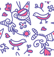 Seamless ethnic pattern with birds and objects vector image vector image