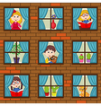 seamless pattern brick wall with children in vector image vector image