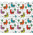 seamless pattern with cute colorful alpacas vector image