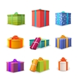 set different colourful bright gift boxes vector image