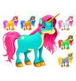 set of cartoon unicorns vector image vector image