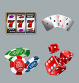 set of gambling icons for casino game with slot vector image