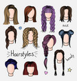 set of hand drawn womens hairstyles vector image vector image